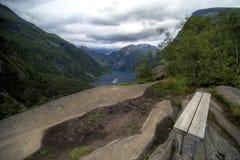 Geiranger fjord panorama royalty free stock photo
