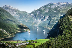 Geiranger fjord panoramic view,Norway Stock Image