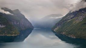 Geiranger fjord seen from Hellesylt side stock photo