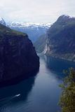 Geiranger fjord and Seven sisters waterfall Royalty Free Stock Photo