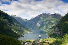 Geiranger fjord view Stock Image
