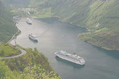 Geiranger fjord view from Road Of The Eagles mountain serpentine Royalty Free Stock Images