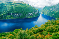 Geiranger Fjord. View on fjord at summer beauty day Stock Images