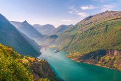 Geiranger Fjord and village.Norway stock images