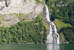 Geiranger Fjord waterfall, Norway Stock Photos