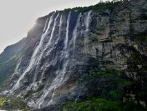 Geiranger fjord-waterfall Seven sisters Royalty Free Stock Images