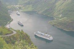 Geiranger fjord widok od drogi Eagles góry serpentyna Obrazy Royalty Free