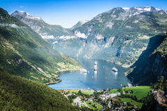 Geiranger-Fjordpanoramablick, Norwegen Lizenzfreie Stockfotografie