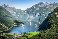 Geiranger fjordpanoramautsikt, Norge Fotografering för Bildbyråer
