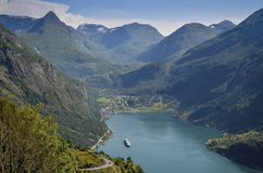 Geiranger and Geirangerfjord, Norway Royalty Free Stock Images