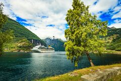 Cruise ship Costa Favolosa in Geiranger on 9 July 2018, Norway