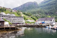 Geiranger village in Norway. Small tourist village Geiranger lies at the head of the famous Geirangerfjorden stock images
