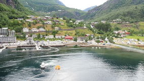Geiranger Norway Panoramic harbour stock footage