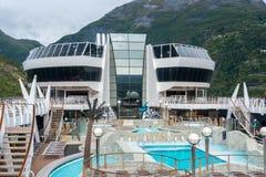 MSC Fantasia. Geiranger, Norway - September 5, 2017: The cruise ship MSC Fantasia at the harbor of Geiranger Stock Images