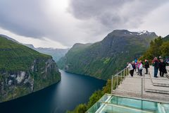 Geiranger fjord in Norway. Geiranger, Norway - September 5, 2017: Geiranger is a 15-kilometre 9.3 mi long branch off of the Sunnylvsfjorden, which is a branch Stock Image