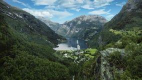 Geiranger, opinión de Noruega desde arriba foto de archivo libre de regalías