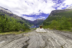 Geiranger Panorama View. A shot of the famous Geiranger Fjord in Norway Stock Images