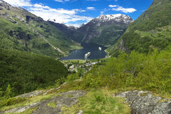 Geiranger Panorama View. A shot of the famous Geiranger Fjord in Norway Stock Photo