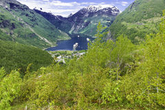 Geiranger Panorama View. A shot of the famous Geiranger Fjord in Norway Royalty Free Stock Photo