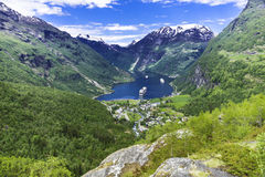 Geiranger Panorama View. A shot of the famous Geiranger Fjord in Norway Royalty Free Stock Photography