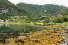Geiranger. The small town of Geiranger at the end of the Geirangerfjord in Norway Royalty Free Stock Photography