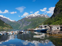 Geiranger town on the banks of Geirangerfjord, Norway. June 28, 2015 Stock Image