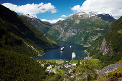 Geiranger. Village view from the Flydalsjuvet in Norway Royalty Free Stock Photo