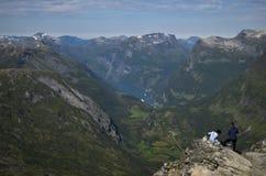 Geirangerfjord de Dalsnibba, Noruega Foto de archivo libre de regalías