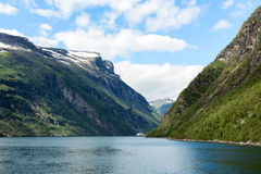 Geirangerfjord and the ferry Royalty Free Stock Images