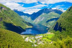 Geiranger at Geirangerfjord, Norway. Geirangerfjord and Geiranger village aerial view from Flydalsjuvet viewpoint, Norway Stock Photography