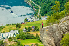 Geirangerfjord and Geiranger village in Norway Stock Images