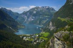 Geirangerfjord i Ørnevegen, Norwegia Fotografia Royalty Free