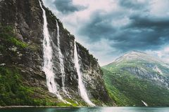 Free Geirangerfjord, Norway. The Seven Sisters Waterfalls In Geirangerfjorden. Famous Norwegian Landmark And Popular Stock Images - 165186254