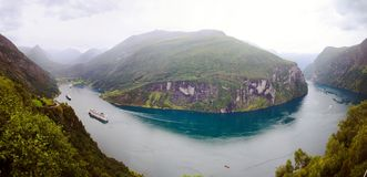 Geirangerfjord Panorama Stock Images