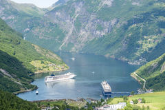 Geirangerfjord - señal natural famosa en Noruega Imagen de archivo