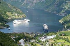 Geirangerfjord - señal natural famosa en Noruega Imagen de archivo libre de regalías