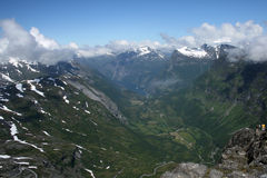 Geirangerfjord seen from distance Stock Photography