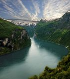 Geirangerfjord and seven sisters waterfall stock photo