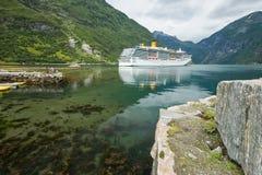 Geirangerfjord-steamship Royalty Free Stock Photo