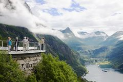 The Geiranger Fjord viewing platform. The Geiranger Fjord is one of Norway`s most visited tourist landmarks. It is enrolled on the UNESCO World Heritage Sites royalty free stock photos