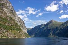 Geirangerfjorden in Norwegen Lizenzfreies Stockbild