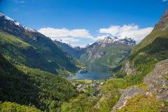 Geirangerfjordlandschap, Noorwegen Stock Fotografie