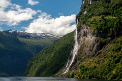 Geirangerfyord della Norvegia Immagini Stock