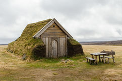 Geirsstadir turf church. In eastern Iceland stock photography