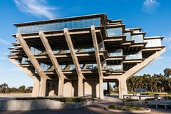 Geisel Library at University of California San Diego. LA JOLLA, CALIFORNIA - FEBRUARY 17, 2018:  The Geisel Library at UCSD, built in 1970, is named in honor of Royalty Free Stock Photos