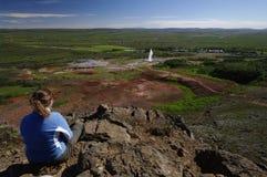 Geiser Strokkur, IJsland Stock Foto