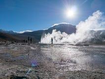 Geisers bij Gr Tatio, Atacama Stock Foto's
