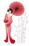 Geisha. Vector illustration of a japanese girl in traditional clothes Stock Image