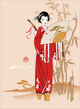 Geisha. In kimono and the sword in the back Stock Image