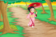 Geisha. Illustration of a geisha walking down a path Stock Image